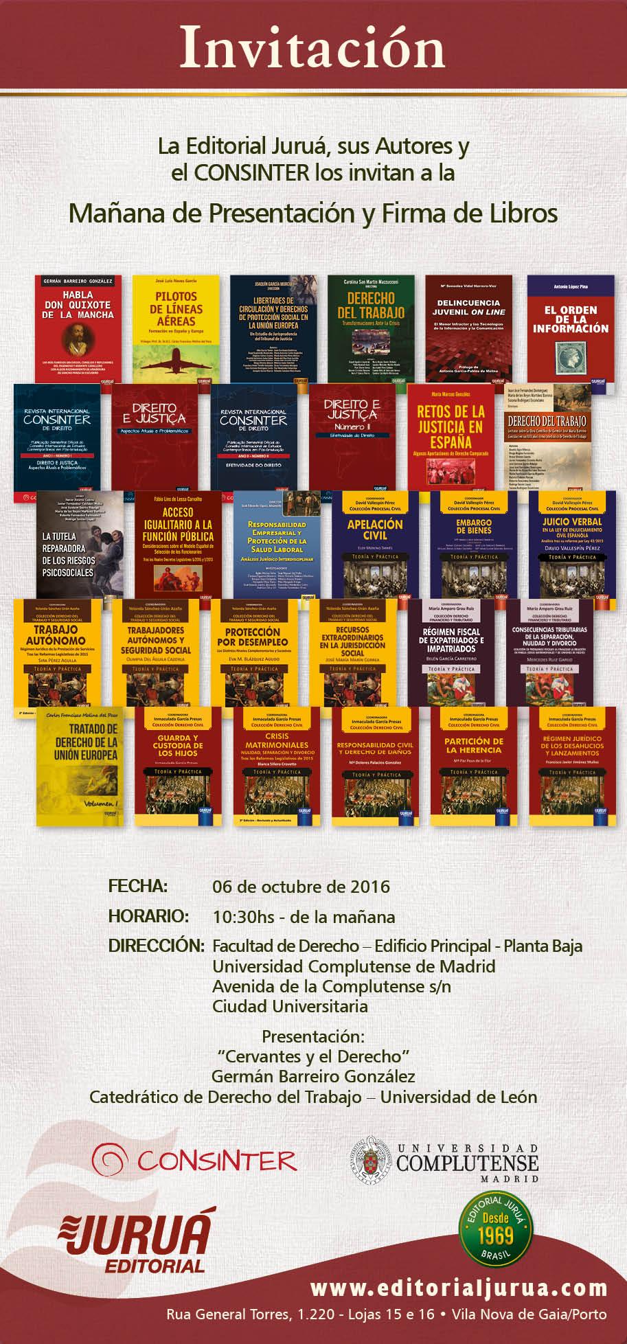 Convite para lançamentos - CONSINTER Madrid 2016